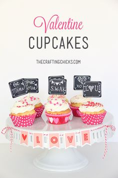 Valentine Cupcakes - Love these cupcake toppers!  They would be perfect for a class party!