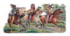 Unusual Big Victorian Scrap American Native Red Indians