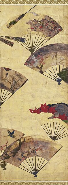 Detail. Scattered Fans 扇面散図屛風. Japanese six-panel folding screen. Tawaraya Sōtatsu 俵屋宗達 (fl. ca. 1600-1643). Edo period, Early 17th century. Freer Gallery of Art. Note that this is similar to Sotatsu's 8-panel Painted Fans Mounted on a Screen in the Museum of the Imperial Collections. Japanese Art Styles, Japanese Design, Japanese Artists, Freer Gallery, Painted Fan, Japanese Screen, Edo Period, Old Master, Chinese Painting