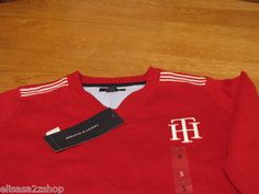 Boys 3T kids youth TH red Tommy Hilfiger sweater long sleeve shirt stripe V neck