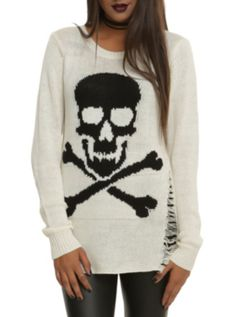 Ivory+Skull+'N'+Crossbones+Girls+Sweater I really want this surely