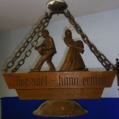 Vintage German 1947 Wood Carved Ceiling Lamp Farmer Couple at the Field #