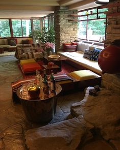 """Jeanne on Instagram: """"#frankloydwright #fallingwater"""" Fallingwater Interior, Falling Water House, Frank Lloyd Wright Buildings, Room Of One's Own, Jeanne Damas, Beautiful Space, Waterfall, Architecture, Instagram Posts"""