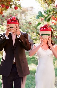 engagement, apple, other, apples, fruits, red, rustic, elegant, sleeves, vneck, wedding dresses, white, Baskets, beige, green, props, Couple Portraits, Fall, woodland