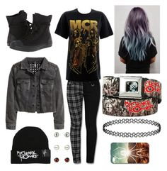 """I'm feeling very MCR rn (read d)"" by blackveilbeauty ❤ liked on Polyvore featuring Converse and H&M"