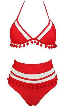 299ceadab9 COCOSHIP Red   White Mesh Striped High Waist Bikini Set Tassel Trim Top  Halter Straps Swimsuit