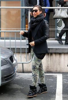Alicia Keys paired her Isabel Marant sneakers with camouflage pants and a slick leather blazer