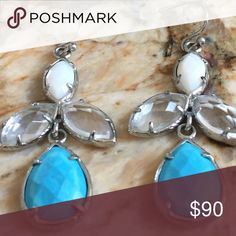 Kendra Scott Kendall earrings in Silver Vintage and in Silver! No dust bag. Turquoise/ mother of pearl / clear crystal Kendra Scott Jewelry Earrings