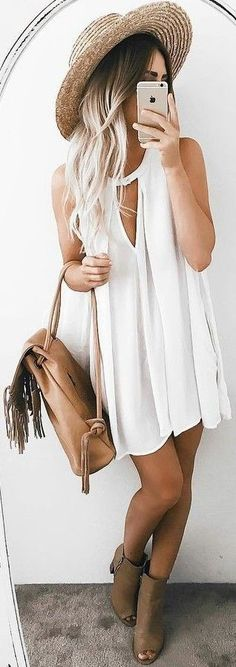 #summer #musthave #outfits |  White Tunic Dress