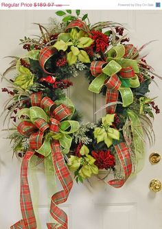 Traditional Christmas Door Wreath Filled With Ribbons