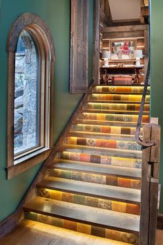 Decorative Stair Risers With Designs For All Tastes. I am in love with this idea of the runs being a bit overhung and having lights under there, especially with the ombre and how those lights could frame the play space. DO THIS!