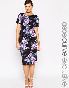 Image 1 of ASOS CURVE Rose Print Scuba Bodycon Dress