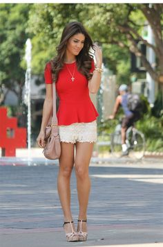 Red peplum & lace shorts Definitely want some lace shorts! Their sexii :) Cute Fashion, Daily Fashion, Womens Fashion, Spring Summer Fashion, Spring Outfits, Pretty Outfits, Cute Outfits, Short Outfits, Formal Outfits
