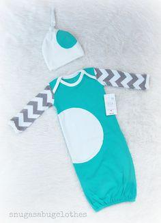 Unique Baby Boy Gown Infant Newborn Gift Set by snugasabugclothes, $44.00