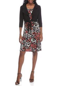 Danny  Nicole  Ruffle Neck Patterned 2-Piece Jacket Dress