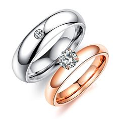 Simple Cubic Zirconia Wedding Rings For Lovers White / Rose Gold Color Women Men Couple Engagement CZ Band Valentine's Ring Ring, Cubic Zirconia Wedding Rings, Diamond Choker Necklace, Silver Earrings, Sapphire Band, Beautiful Wedding Rings, Dream Wedding, Three Stone Engagement Rings, Fine Jewelry