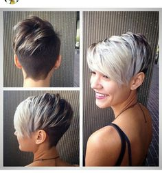 Blonde to brown ombre pixie