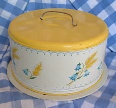 Electronics, Cars, Fashion, Collectibles, Coupons and Vintage Dishes, Vintage Kitchen, Cake Carrier, Take The Cake, Cake Stands, Blue Yellow, Green, Cake Plates, Let Them Eat Cake