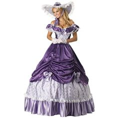 Southern Belle Hoop Skirt Purple Gown Costume found on Polyvore featuring polyvore, women's fashion, clothing, costumes, southern belle halloween costume, purple halloween costumes, southern belle costume and purple costume
