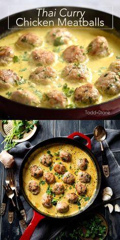 Chicken Meatball Soup, Ground Chicken Meatballs, Thai Meatball Recipe, Recipes With Chicken Meatballs, Minced Chicken Recipes, Ground Chicken Recipes, Chicken Sauce Recipes, Mince Recipes, Cooking Recipes