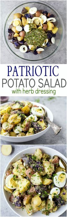 Patriotic Potato Salad made with red, white, and blue potatoes then covered with a easy light Herb Vinaigrette. The perfect side dish to bring to your next party!