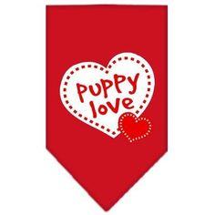 Puppy Love Screen Print Bandana Red Large