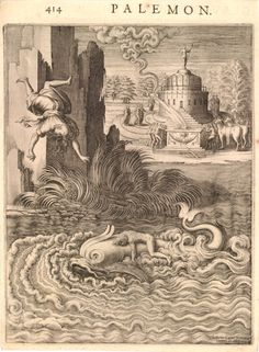 Illustration to 'Les images ou tableaux de platte peinture des deux Philostrates' (Paris 1617); Ino throwing herself into the sea from a high cliff, and her son Melicertes lying unconscious on the back of a dolphin; letterpress text on verso.  c.1617  Engraving