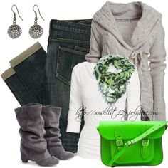 """Green Bag"" by wishlist123 on Polyvore--maybe too green?  :)"