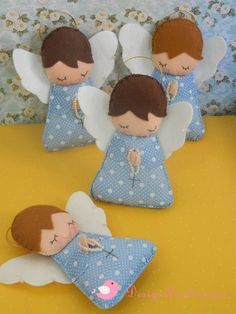 Angel of felt Felt Christmas Ornaments, Angel Ornaments, Christmas Angels, Christmas Sewing, Christmas Crafts, Felt Decorations, Christmas Decorations, Hobbies And Crafts, Diy And Crafts