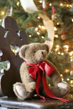 Sweet Christmas Teddy Bear ✿⊱╮ For Charlotte Christmas Scenes, Noel Christmas, Christmas Morning, Little Christmas, Country Christmas, All Things Christmas, Xmas, Christmas Colors, Cottage Christmas