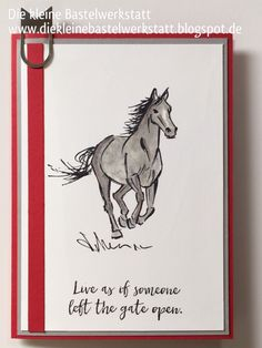 Horse Card with the Let It Ride stamp set from Stampin' Up! Pet Sympathy Cards, Horse Cards, Crackle Painting, Bird Cards, Animal Cards, Masculine Cards, Crafty Projects, Creative Cards, Stampin Up Cards