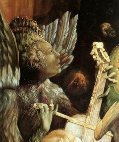 Mathias Grunewald - Detail of unknown painting? Strange Angel playing a musical instrument
