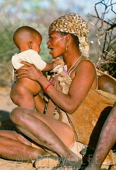 Bushmen mother and child . Kalahari Desert, Botswana