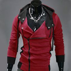 Sweat a capuche Hoodie Men Fashion Gilet sweater Outwear Rouge