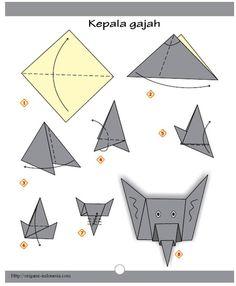 Kepala Gajah 494x600 Origami IdeasEasy OrigamiOrigami BoxesOrigami PaperElephant FaceOrigami ElephantOrigami InstructionsOrigami AnimalsAnimal Crafts