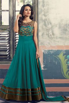 Online Shopping of Teal Color Net-Georgette Designer Anarkali Suit-5 from SareesBazaar, leading online ethnic clothing store offering latest collection of sarees, salwar suits, lehengas & kurtis