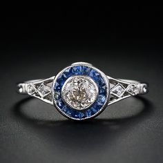 0.40 ct vintage diamonds, sapphires set in platinum, Art Deco ring.