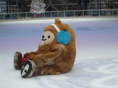 One of the Vancouver Olympic mascots took a tumble while skating at the Robson Square Ice Rink!