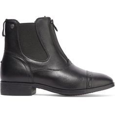 Heel measures approximately 1 inch Black leather Zip fastening along front