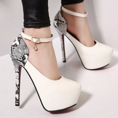 size 40 5d76c 71572 Stylish snakeskin ankle strap pump high heels for the modern woman Popular  design offers a cool