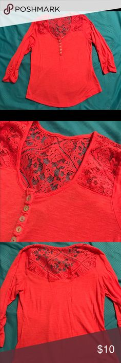 3/4 sleeve coral shirt Size x-small 3/4 sleeve coral shirt with lace shoulders and back Tops Blouses