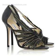 Jimmy Choo Mabel Feather-embellished Leather Sandals Black
