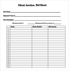 Sample Bid Sheet Template | Free Printable Silent Auction Template Silent Auction Bid Sheet