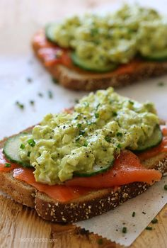 An open-faced egg salad sandwich with wild Nova salmon and cucumber slices – under 300 calories,...