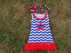 July 4th star and chevron Tank Dress inc. Accessories