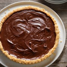 Cashew Tart with Chocolate Pie Filling Recipe - gluten-free cashew-infused crust and a triple-chocolate vegan filling!