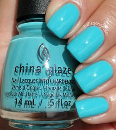 China Glaze 2015 Rain Dance the Night Away // kelliegonzo.com Rain Dance the Night Away, a bright turquoise crème nail polish. This is seriously stunning and has an awesome buttery, opaque formula.