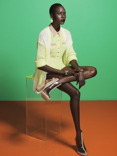 Pretty pale yellow (and shooties!). Ajak Deng in Nasty Gal's July look book.