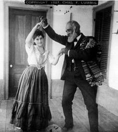 californio couple dancing (1887) at the lummis home in los angeles?  californio (spanish/mexican) culture persisted well after the conversion of california to a territory of the united states.  it was even romaticized in novels like Ramona (1884) by helen hunt jackson and Claudio and Anita (1921) by sacramenta lopez de cummings.