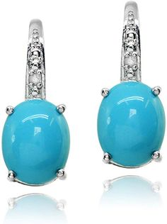 Natural Cut Oval Turquoise Stone Bead /& .925 Sterling Silver Lever Back Earring Pair Custom Earrings